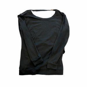 ASKYA Open Back Grey Long Sleeve Top
